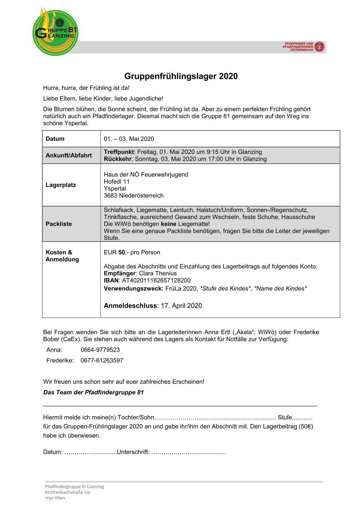 Gruppenfrühlingslager 1.-3.5.2020