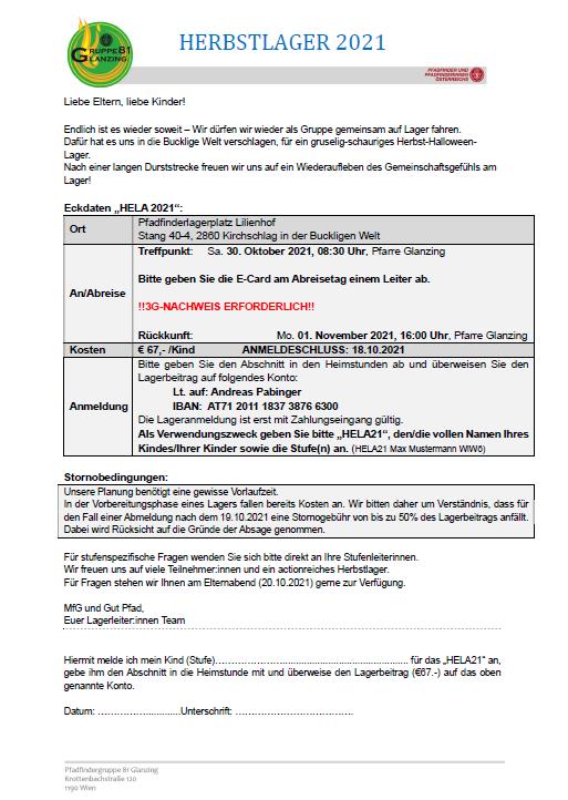 Ausschreibung Herbstlager 30.10.-1.11.2021